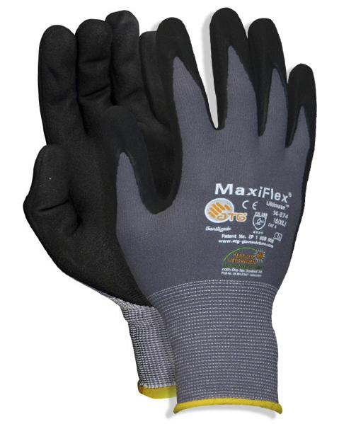 Gants tricot Nylon, nitrile/PU, taille 8, 12 paires