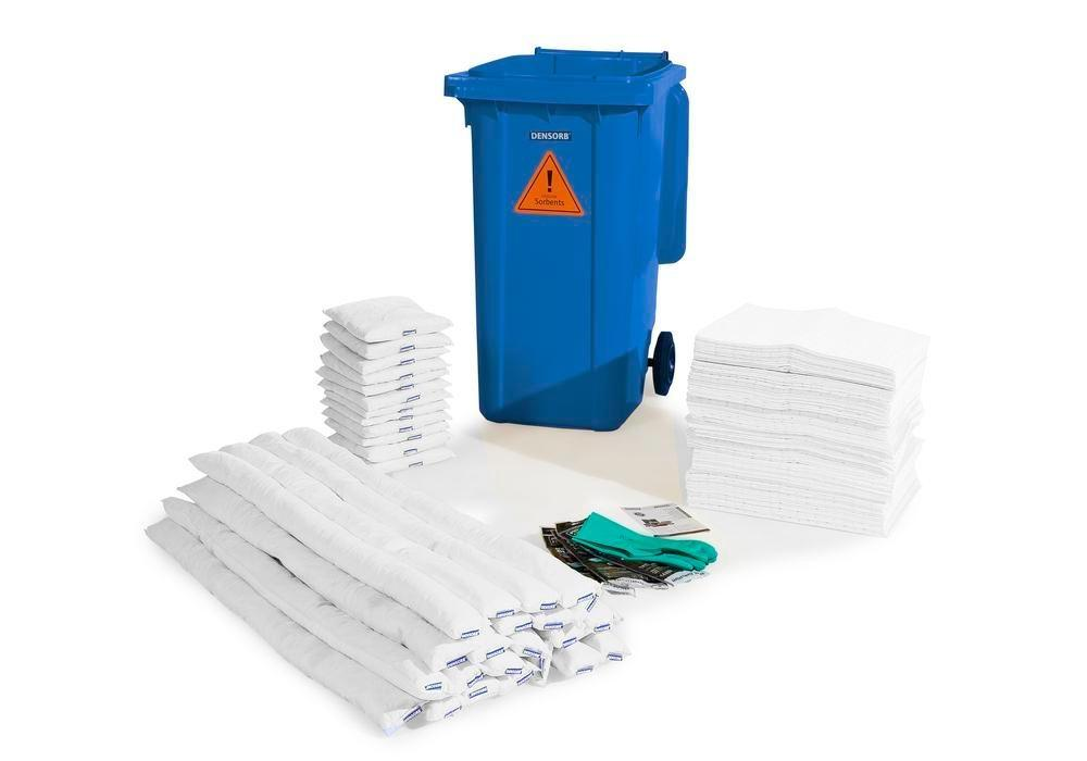 Kit d'absorbants anti-pollution DENSORB, absorbants en conteneur sur roulettes B24, « huile »