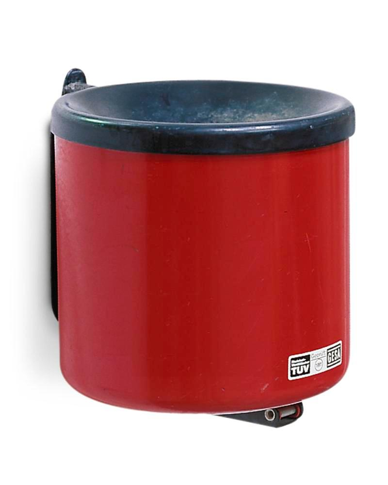 Cendrier mural antifeu, 2,4 litres, rouge