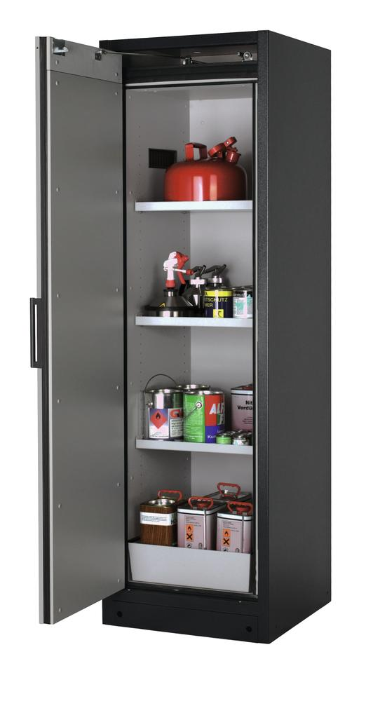 Armoire Select W63L-O, charnières à gauche, corps anthracite, porte argente ONE-Touch