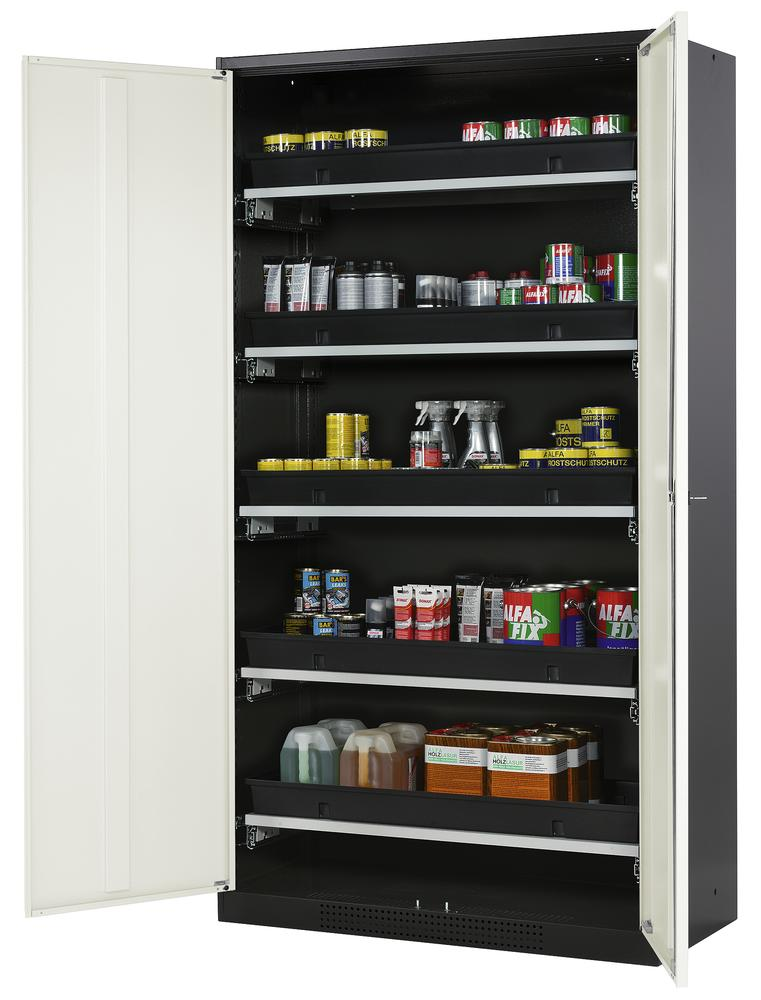 Armoire produits chimiques Systema CS-105, corps anthracite, portes blanches, 5 bac-tiroirs - 2