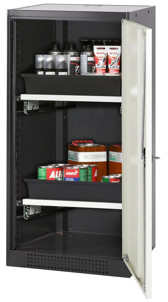 Armoire produits chimiques Systema CS-52R, corps anthracite, portes blanches, 2 bac-tiroirs