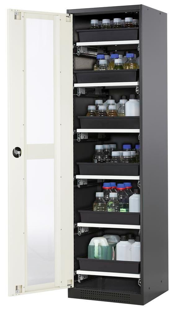 Armoire produits chimiques Systema CS-56LG, corps anthracite, portes blanches, 6 bac-tiroirs
